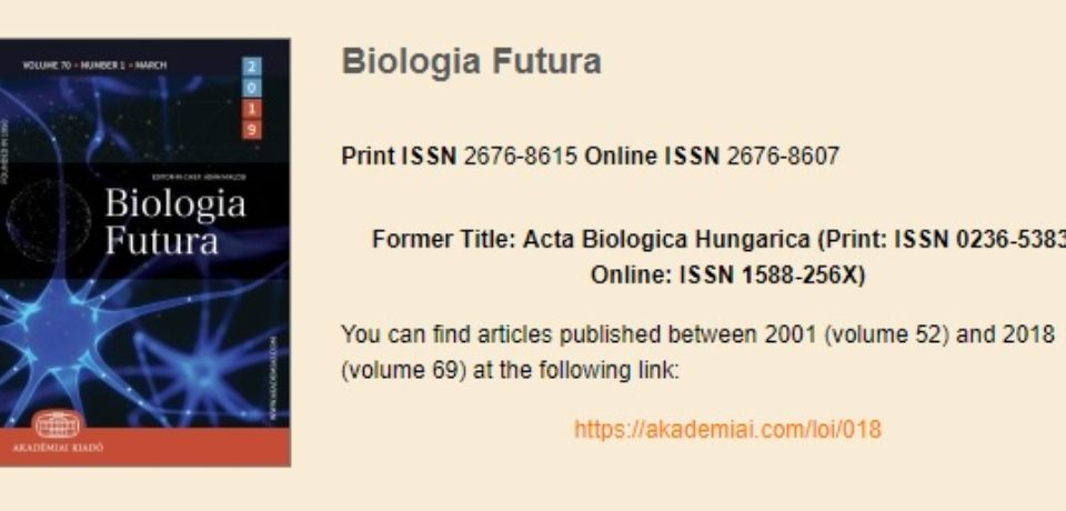 Biologia Futura 2019/2 -Thematic Issue